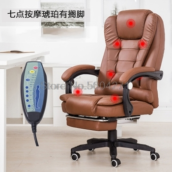 Office Boss Chair PU Leather Massage Chair With Footrest Computer chair home office chair Lift Chair  giantex pu leather ergonomic office chair armchair executive chair boss lift chair swivel chair office furniture hw50391