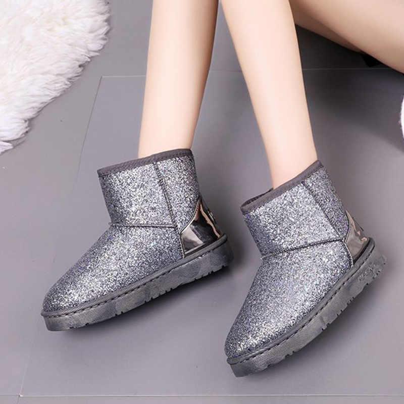 2019 botas de nieve con purpurina para mujer, nuevas botas suaves y cálidas para mujer, botas de tobillo de invierno con plataforma brillante para mujer, zapatos casuales para mujer