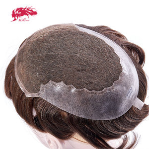 Ali Queen Toupee Hair Replacement Systems Full French Lace With transparent thin skin Indian Remy Hair Toupee Men Hair Piece wig(China)