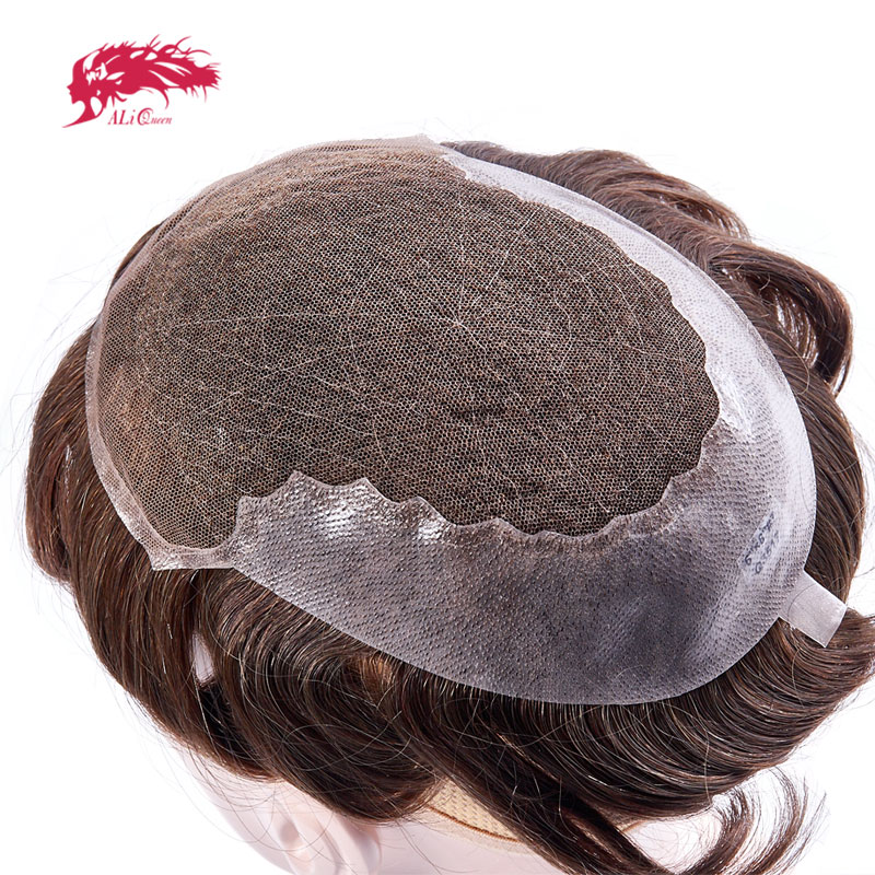 Ali Queen Toupee Hair Replacement Systems Full French <font><b>Lace</b></font> With transparent thin skin Indian Remy Hair Toupee Men Hair Piece <font><b>wig</b></font> image