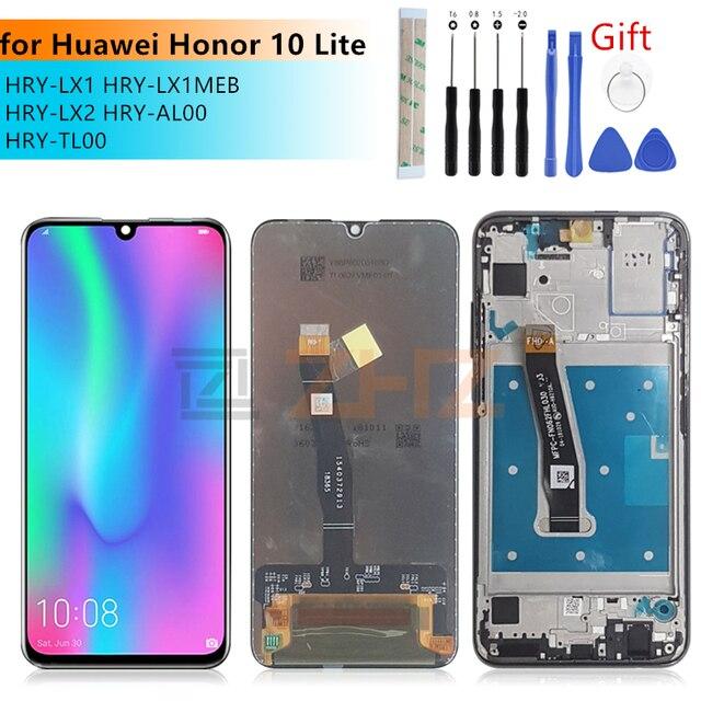 Voor Huawei Honor 10 Lite LCD Touch Screen Digitizer vergadering met Frame Voor Honor 10 Lite screen vervanging HRY LX1 reparatie deel
