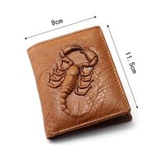 Genuine Leather Wallet 3D embossed Scorpion Totem Men