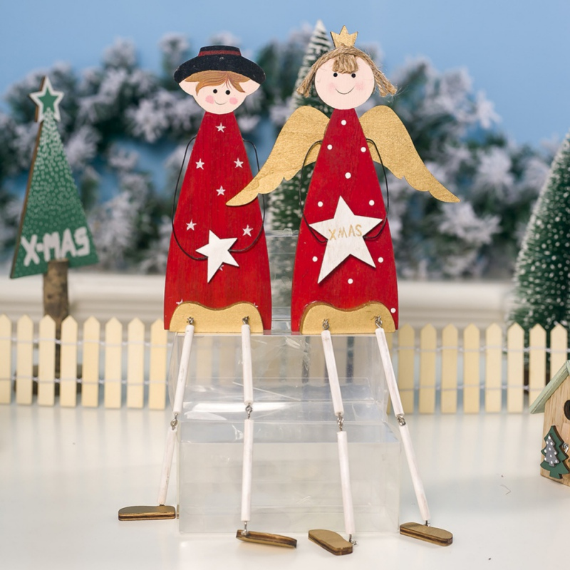 Christmas Angel Ornaments Wooden Decorative Table Garland Gift Christmas Decoration For Home