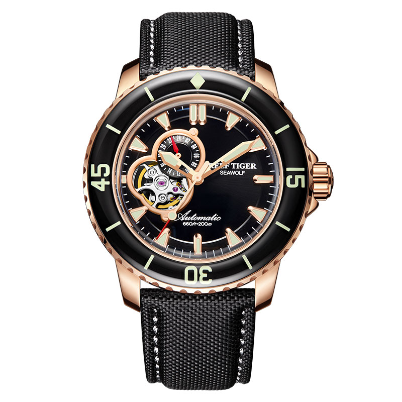 Reef Tiger/RT Top Brand Watch For Men Sport Automatic Watches Rose Gold Super Luminous Diving Watch Nylon Strap RGA3039 6