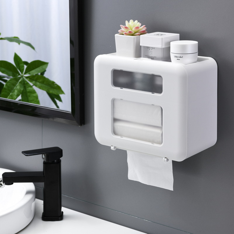 4 Color Double Layer Toilet Paper Holder Toilet Tissue Box Wall Mount Multifunction Waterproof Bathroom Storag Durable Home