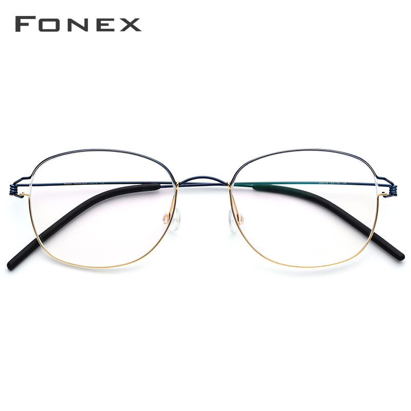 FONEX Titanium Alloy Glasses Frame Men Prescription Eyeglasses Korean Women Myopia Optical Frame Screwless Eyewear 98618