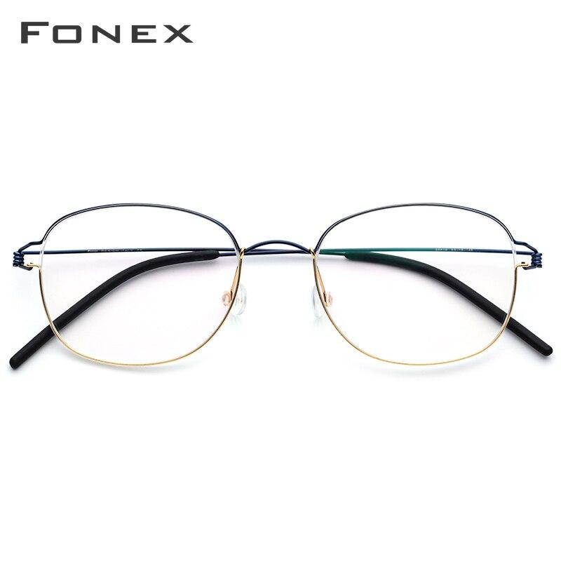 FONEX Titanium Alloy Glasses Frame Men Prescription Eyeglasses Korean Women Myopia Optical Frame Screwless Eyewear 98618