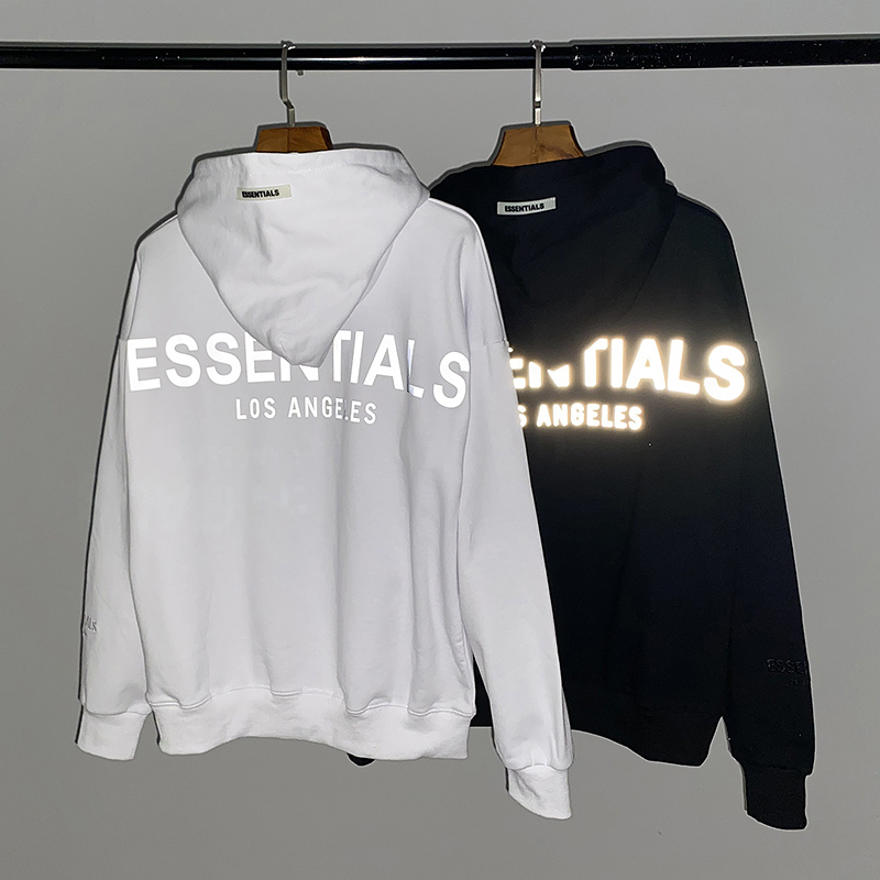 2020 Fog Essentials Los Angels 3M Reflective Printed Women Men Hoodies Sweatshirt Hiphop Oversized Men Cotton Hoodie Pullover