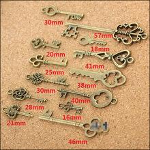 13 pendentifs en Bronze Vintage à Look ancien, assortis, clés Vintage, collection, bon cadeau