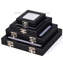 Vitrine porte bijoux, boîte de rangement de diamants, boîte de présentation de pierres précieuses de haute qualité, similicuir, présentoir de gemmes