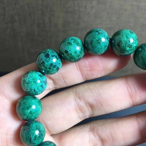 Image 4 - 12.2mm טבעי ירוק מלכיט צמיד נשים גברים מתנה ריפוי למתוח Chrysocolla עגול חרוז קריסטל צמיד תכשיטי AAAAA