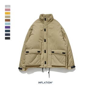 Image 4 - INFLATION 2020 Men Winter Parka Jacket Solid Color Mens Warm Parka Jacket Streetwear 10 Different Color Men Parka Jacket 8761W