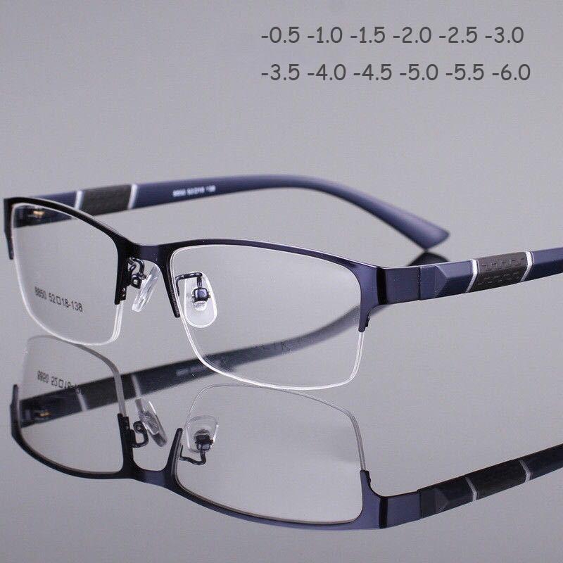 Business Myopia Glasses Half Metal Frame Nearsighted Glasses Unisex Myopia Resin Clear Mirror 0 -0.5 -1 -1.5 -2 -2.5  -5 -5.5 -6