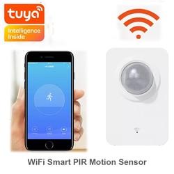 Wi fi inteligente pir sensor de movimento alarme tuya vida inteligente app controle remoto energia usb mini alarme detector casa inteligente sistema segurança