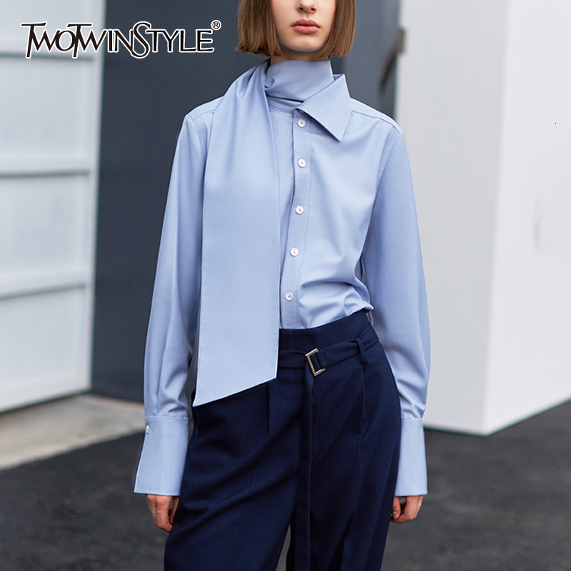 TWOTWINSTYLE Casual Irregular Women's Blouses Asymmetrical Turtleneck Long Sleeve Loose Shirts Female Fashion 2020 Clothing Tide