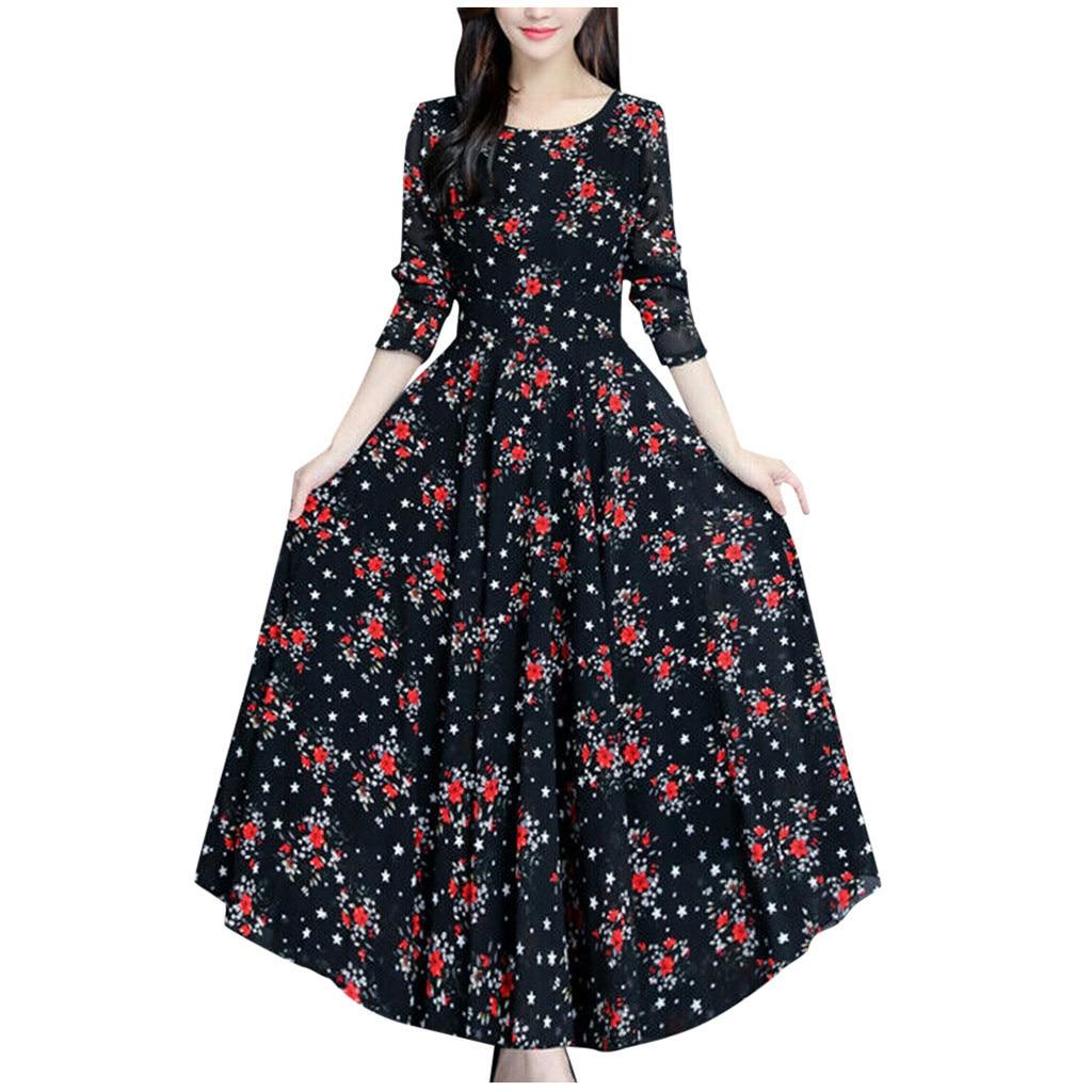 Bohemian Plus Size Dresses Woman Party Night Floral Print Vintage Autumn Dress Women Long Sleeve Elegant Long Maxi Dress Vestido Dresses  - AliExpress