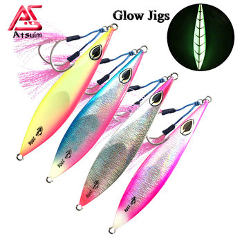 AS Slow Metal Jigging With Hooks Sinking Glow Jigs 150g200g250g300g Slow Falling luminuous Lure Fishing Pitch Jigs Angler Bait jigs