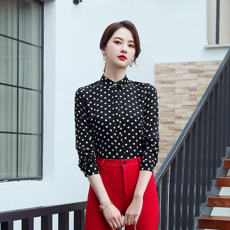 2019 automne et hiver nouveau Style coréen coupe ajustée affaires à pois femmes Blouse femmes chemise-style bureau col blanc Wo