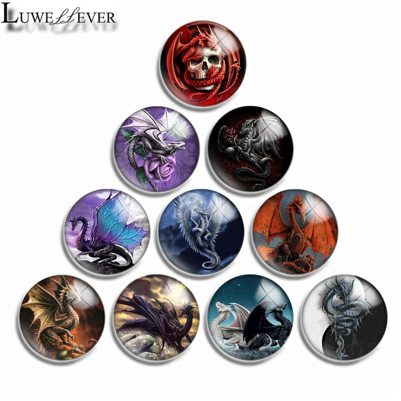 10mm 12mm 16mm 20mm 25mm 30mm 549 Dragon Mix Round Glass Cabochon Jewelry Finding 18mm Snap Button Charm Bracelet