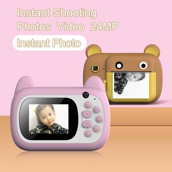 Nowy aparat fotograficzny dla dzieci natychmiastowy aparat fotograficzny dla dzieci 1080P HD 24MP aparat fotograficzny z termicznym papier fotograficzny aparat fotograficzny na prezenty urodzinowe tanie i dobre opinie Venyasol Naprawiono ostrości CN (pochodzenie) Brak Full hd (1920x1080) CMOS 1 2 33 cali 15-45mm 20 1MP -- 24 0MP kids print camera