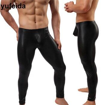 Fashion Shapers Sexy Men's Long Pants Black Leather Leggings Trousers Compression Underwear Winter Warm Inside Long Pants