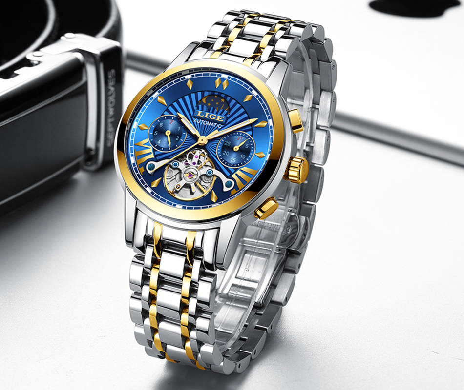 LIGE Official Store Mens Watches Top Brand Luxury Automatic Mechanical Business Clock Gold Watch Men Reloj Mecanico de Hombres Hfa2895adbc9d443b8d37e7a3385c1321i