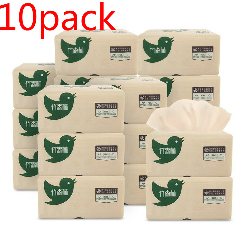 10 Pack 3-Ply Toilet Paper Bamboo Pulp Paper Towel 270 Sheets Household Napkin Draw Paper Soft Skin-Friendly Paper Towels Hot