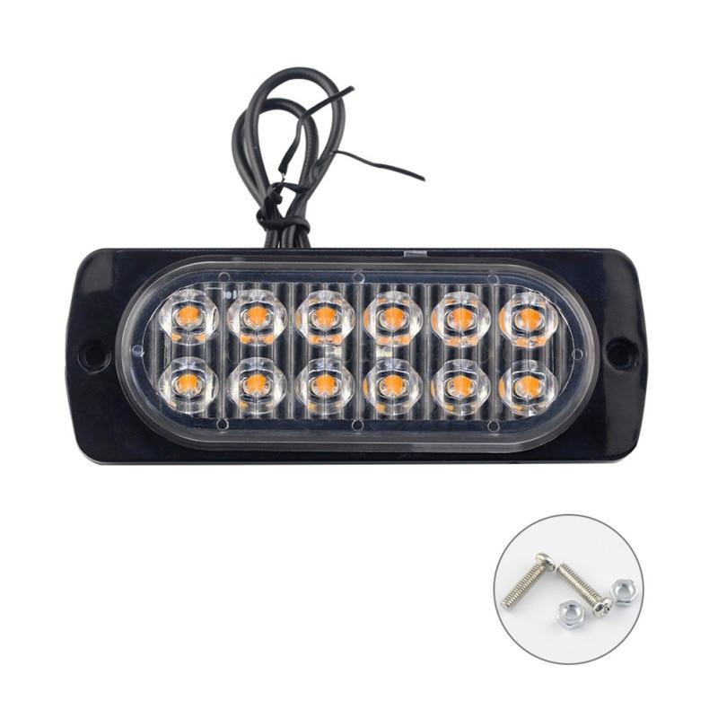 Balight 1PCS 12V 12LEDs Waterproof Car Emergency Beacon Signal lightWarning Light Hazard Flash Strobe Light Bar for Truck