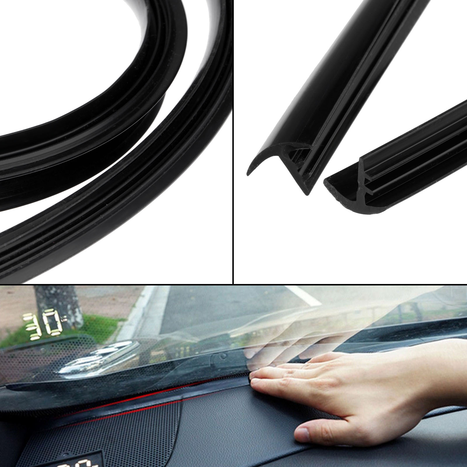 1.6m Silicone Rubber Soundproof Dustproof Sealing Strips Trim Noise Insulation