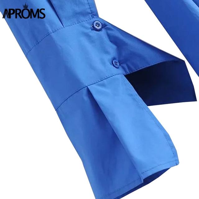 Blue Cotton Shirt Flared Sleeve dress 6