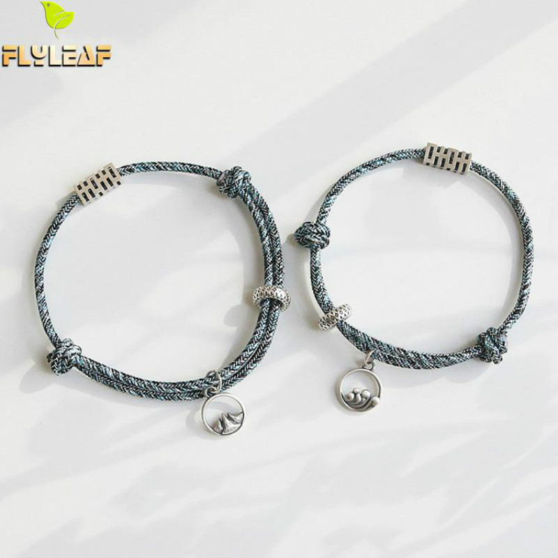 925 Sterling Silver Oath Of Love Couple Bracelet Chinese Vintage Style Hand Woven Rope Fine Jewelry Flyleaf