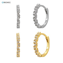 Kikichicc 925 Sterling Silver 12mm Big Hoops Crystal Large Huggies Ring Circle Round Women Luxury Jewelry 2020 Fashionable