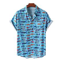 Vacation Men's Short Sleeve Shirts Floral Anime Fish Printed Shirt chemise homme Male Camisa Casual Loose Beach Hawaiian Shirts