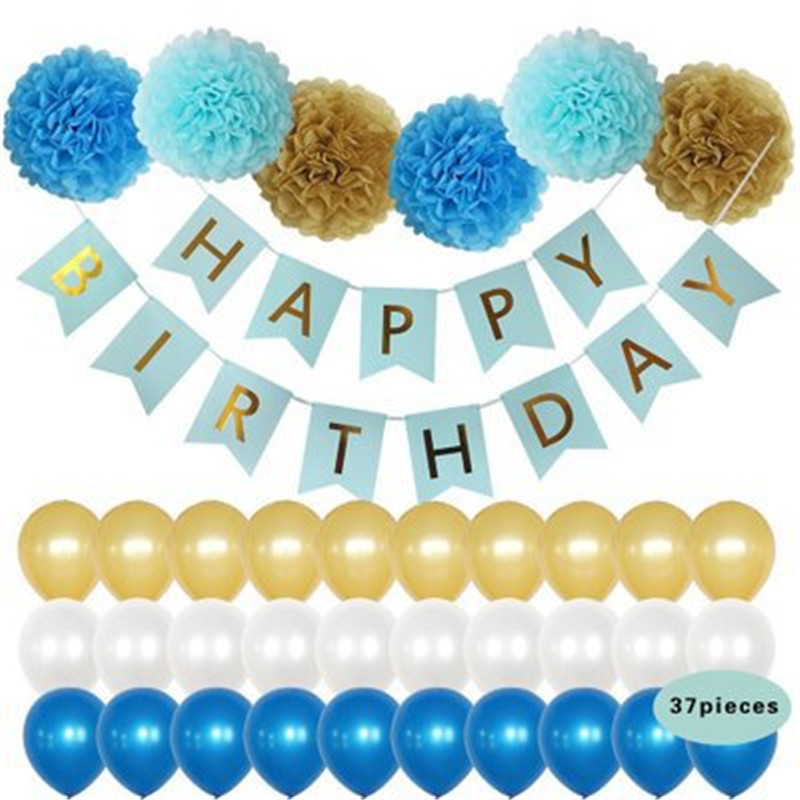 Blue Theme Baby Party Decorations Set Newborn Baby Boys Girls Birthday Party Baby Shower Party Children's Day