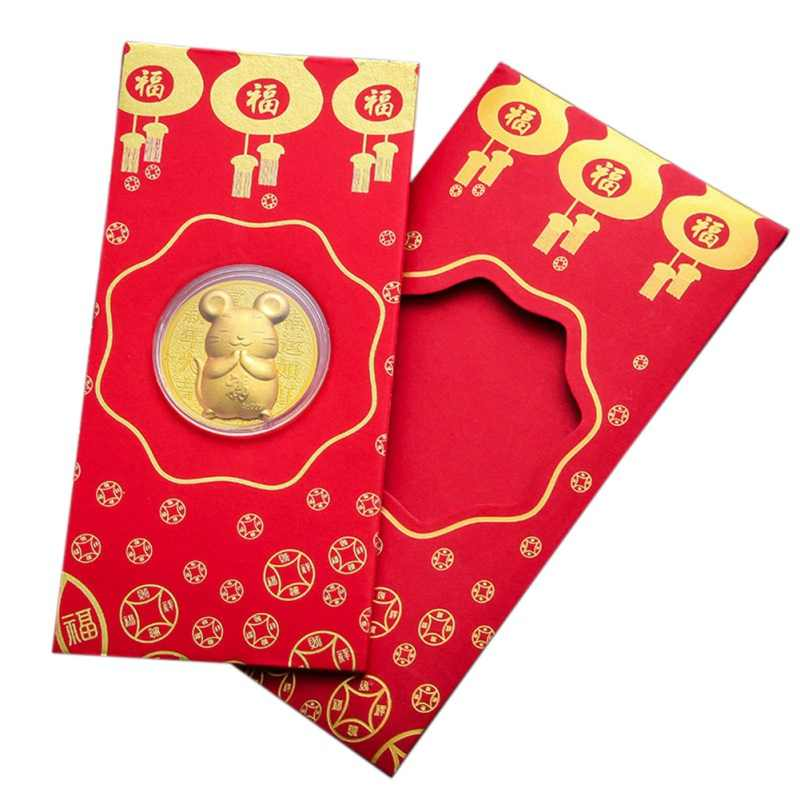 2020 Rat Year Red Lucky Envelope Alloy Mouse Commemorative Coin New Year Blessing Brings Good Fortune Envelope Wallet