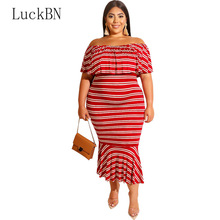 LuckBN 2019 Lotus Leaf Stripe Dress Women White Red Bodycon Dresses Tight Off Shoulder Sexy Party Plus Size 5XL Vestidos
