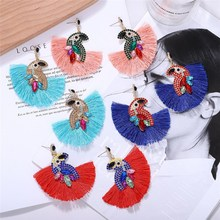 Bohemian Fan Shaped Tassel Earrings Female Fringe Handmade Dangle Vintage Crystal Drop