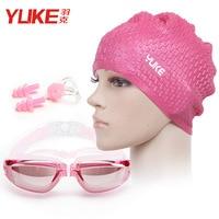 Yuke Waterproof Swimming Cap Swimming Cap Women's Long Hair Silica Gel Earmuffs Hat Anti fog Swimming Goggles Men's Women's Univ Óculos de segurança     -