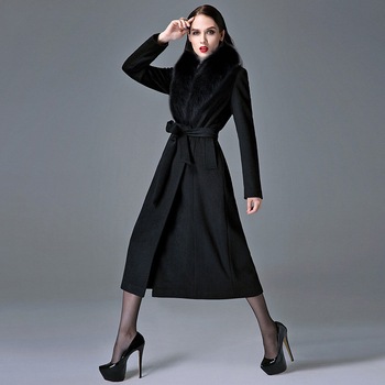 Cashmere Coat Woman Autumn Winter Overknee Thick Warm Wool Coat Real Fox Fur Collar Oversize Thickened Woolen Trench black 2017 girls new year clothes autumn winter detachable fur collar wool coat for baby girl thick cotton padded coat with skirt