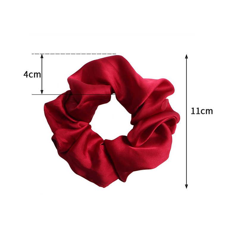 สีทึบSilky SATIN Scrunchieผมวงยืดหยุ่นElegantแฟชั่นหางม้าผมเชือกHeadwearสีแดงสีชมพูร้อน