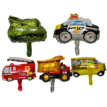 mini car aluminum foil balloon fire truck ambulance Tank air balloon children's toys decoration birthday party balloons image