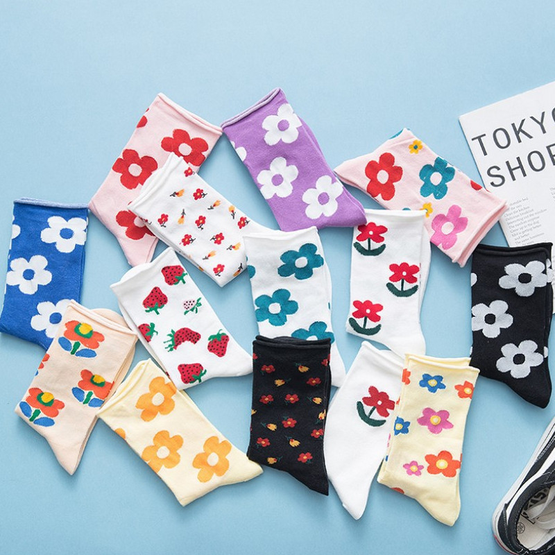 Japanese Korean Style Cartoon Flower Cute Socks Women Streetwear Skate Harajuku Kawaii Socks Autumn 38
