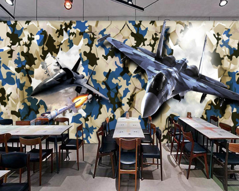 Dropship Free Shipping Restaurant Decoration Wallpaper Game Room Mural Custom 3D Wallpaper Airplane Breaks Wall Into Bar Wall