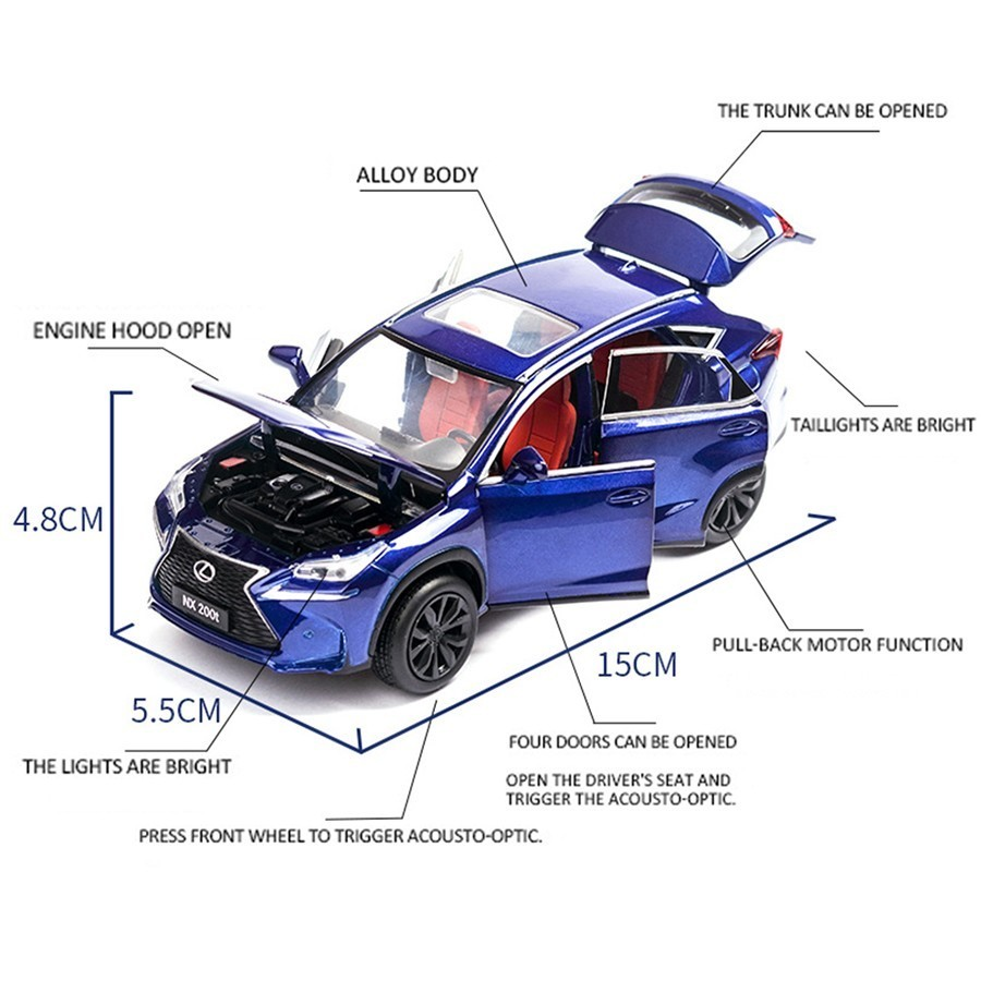 1:32 Lexus nx200t SUV Diecast Model Car Toy Collection Luminous Pullback Gift
