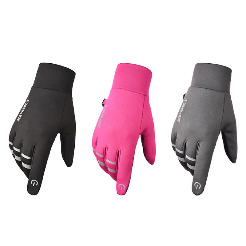 Men Women Motorcycle Gloves Anti-slip Reflective Cycling Riding Ski Gloves Touch Screen Windstopper Warm Full Finger For Winter