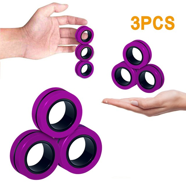 3pcs Anti-stress Magnetic Rings Magnetic Bracelet Ring Unzip Toy Magic Ring Props Tools Decompression Toys Finger Rings Toy 2