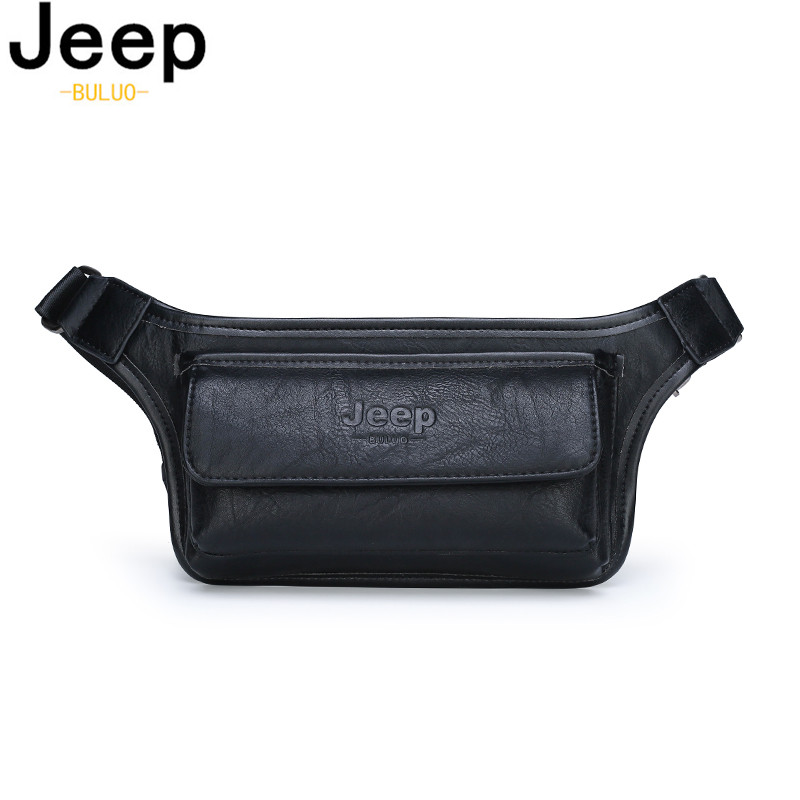 JEEP BULUO Men Waist Bag Pack Casual Functional Money Phone Belt Bag Male Women Sling Bag For Belt Leather Hip Bag Chest