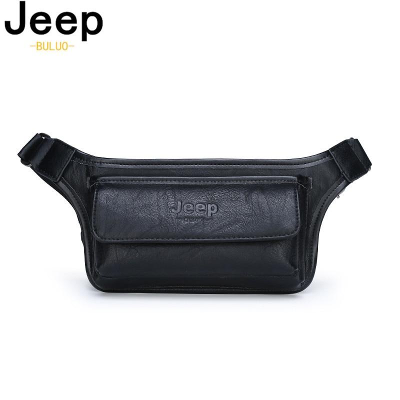 JEEP BULUO Men Waist Bag Pack Casual Functional Money Phone Belt Bag Male Women Sling Bag For Belt Leather Hip Bag Chest