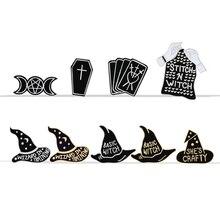 Волшебник колдуньи в тренировочной волшебной шляпе черные магниты в виде Луны значки броши на куртки Нагрудный значок покрытый эмалью рюкзак сумка аксессуары ювелирные изделия