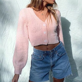 2020 vintage Coarse Shaggy knitting Cardigan Women V neck Single-breasted Button Sweater Long sleeve Short Jumper Pink double v neck fluted sleeve jumper